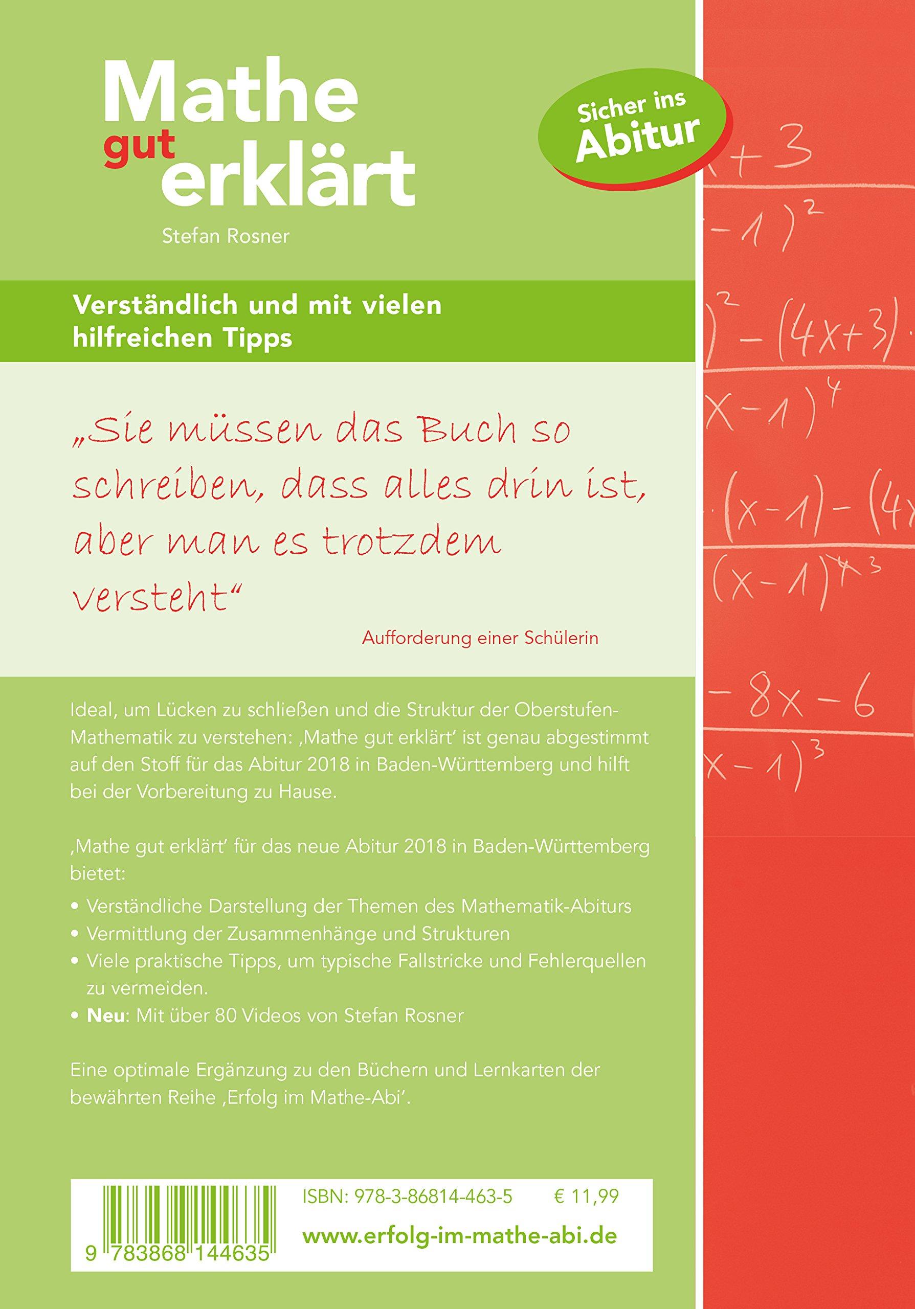 Mathe gut erklärt 2018 Baden-Württemberg Gymnasium - Stefan Rosner ...