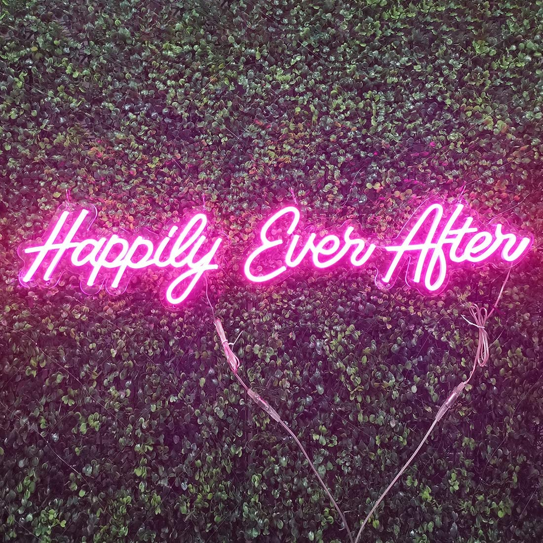 Britrio LED Neon Light Sign, Pink Happily Ever After Hanging Neon Art Wall Sign for Party Wedding Hashtag Home Decor Kid Bedroom Bar 12V (Power Adapter Include)