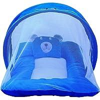 Smartcraft Teddy Soft Mattress with Mosquito Net, Polyester Soft Mattress- Blue