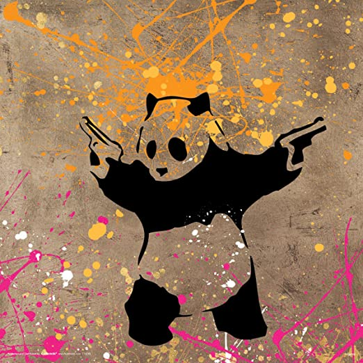 Banksy Panda With Guns Poster Prints Home Decoration Wall Art Pictures