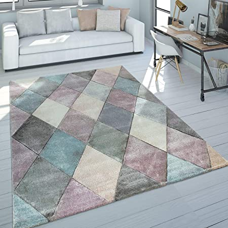Kurzflor-Teppich Für Badezimmer Karo-Muster In Pastell Blau Rosa Badematte