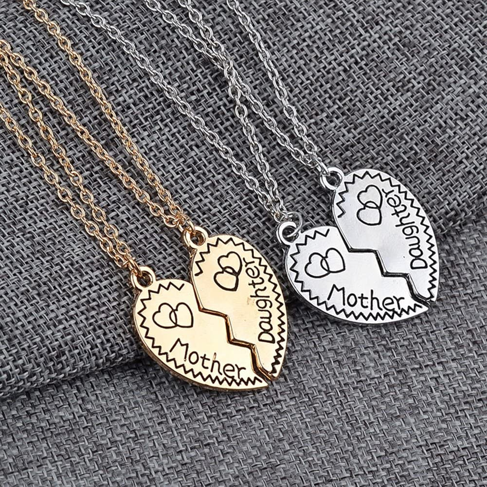 MayLove 2pcs Mother Daughter Engraved Necklace Broken Heart Pendant Jewelry Set