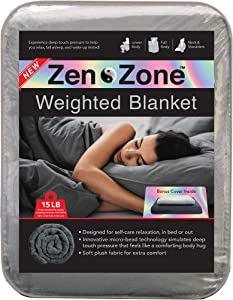 Zen Zone Weighted Blanket with Removable & Washable Cover, 15lb, Plush Grey (48 in. x 72 in.)