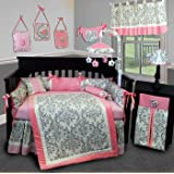 SISI Baby Bedding - Grey Damask 15 PCS Crib Bedding Set