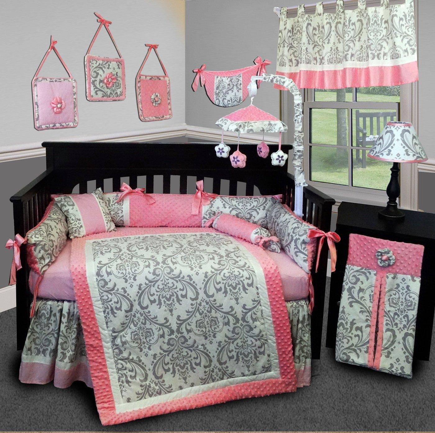 SISI Baby Bedding - Grey Damask 15 PCS Crib Bedding Set by Sisi   B01DCMS7J8