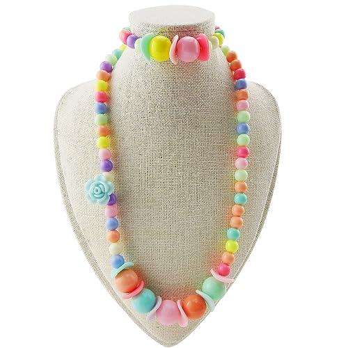 67981875488b Unijew Niños joyería Rosa Collar de Perlas Pulsera Set bisutería de ...
