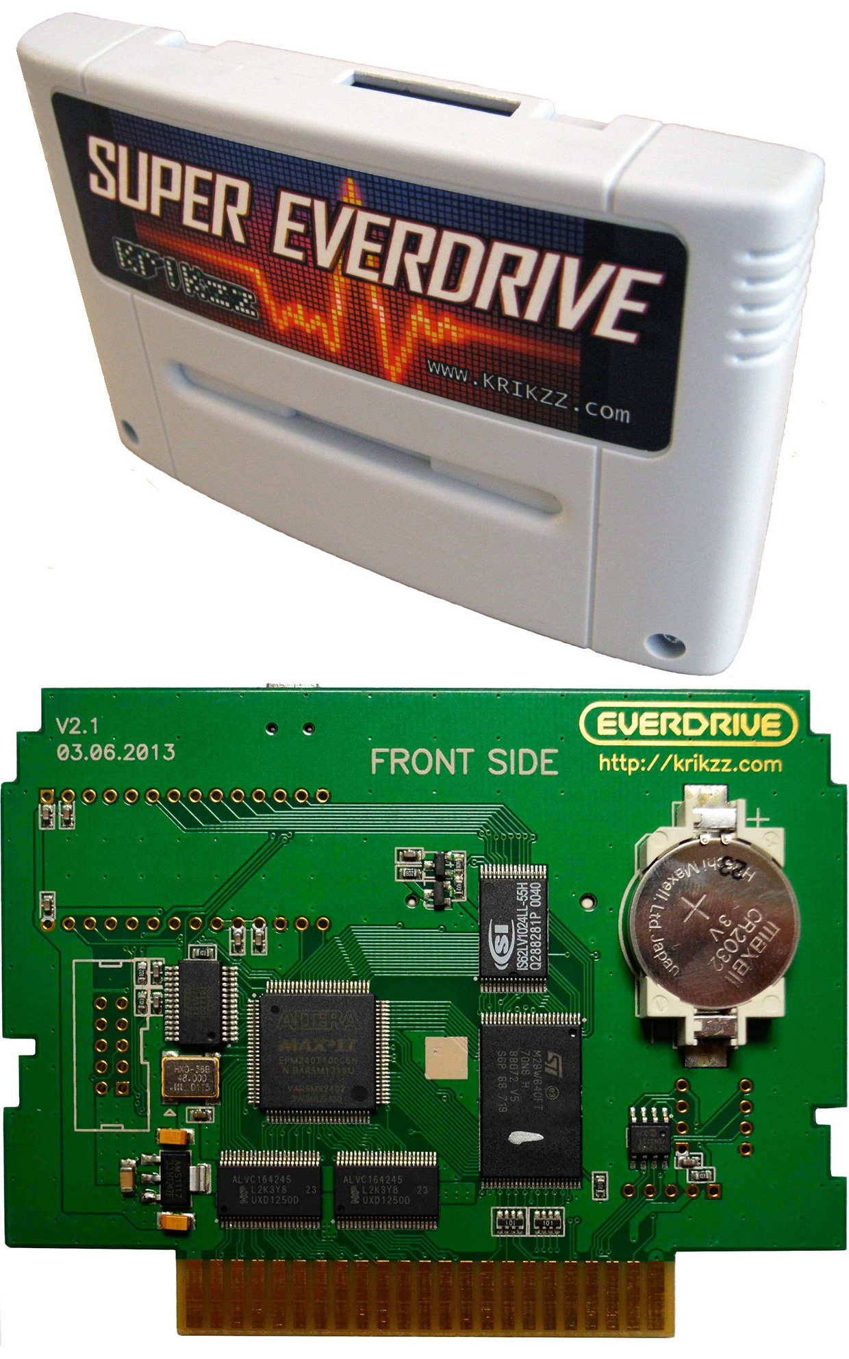 Super Everdrive V2 Flash Cart for Super Nintendo with DSP chip on board. NTSC