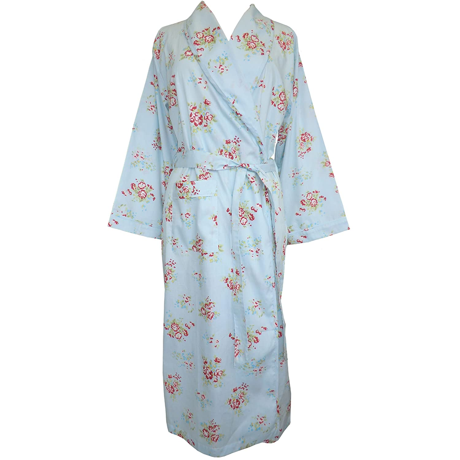 The Irish Linen Store Womens Greta Cotton Dressing Gown Blue and Red ...