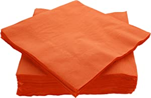 "Amcrate Big Party Pack 50 Count Orange Dinner Napkins Tableware- Ideal for Wedding, Party, Birthday, Dinner, Lunch, Cocktails. (7"" x 7"")"