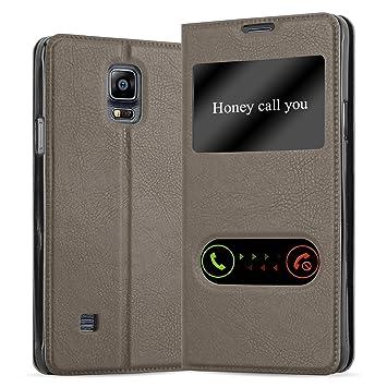 Cadorabo Funda Libro para Samsung Galaxy Note 4 en MARRÓN Piedra - Cubierta Proteccíon con Cierre Magnético, Función de Suporte y 2 Ventanas- View ...