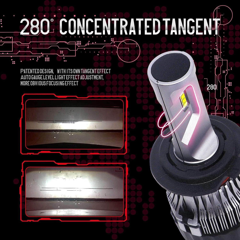 6500K Bianco,12V 3 Anni Di Garanzia Fari Abbaglianti e Anabbaglianti per Auto Kit Lampada Sostituzione per Alogena Lampade e Xenon Luci Lampadine H4 LED 10000LM