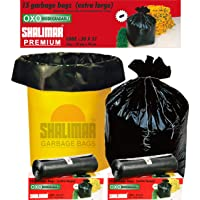Shalimar Premium OXO - Biodegradable Garbage Bags (Extra Large) Size 76 cm x 94 cm 6 Rolls (90 Bags) ( Black Colour )