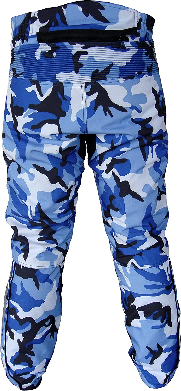impermeabile traspirante mimetico Warrior Camo W30 L32, blu in cordura protezione CE Tousers da motociclista da uomo