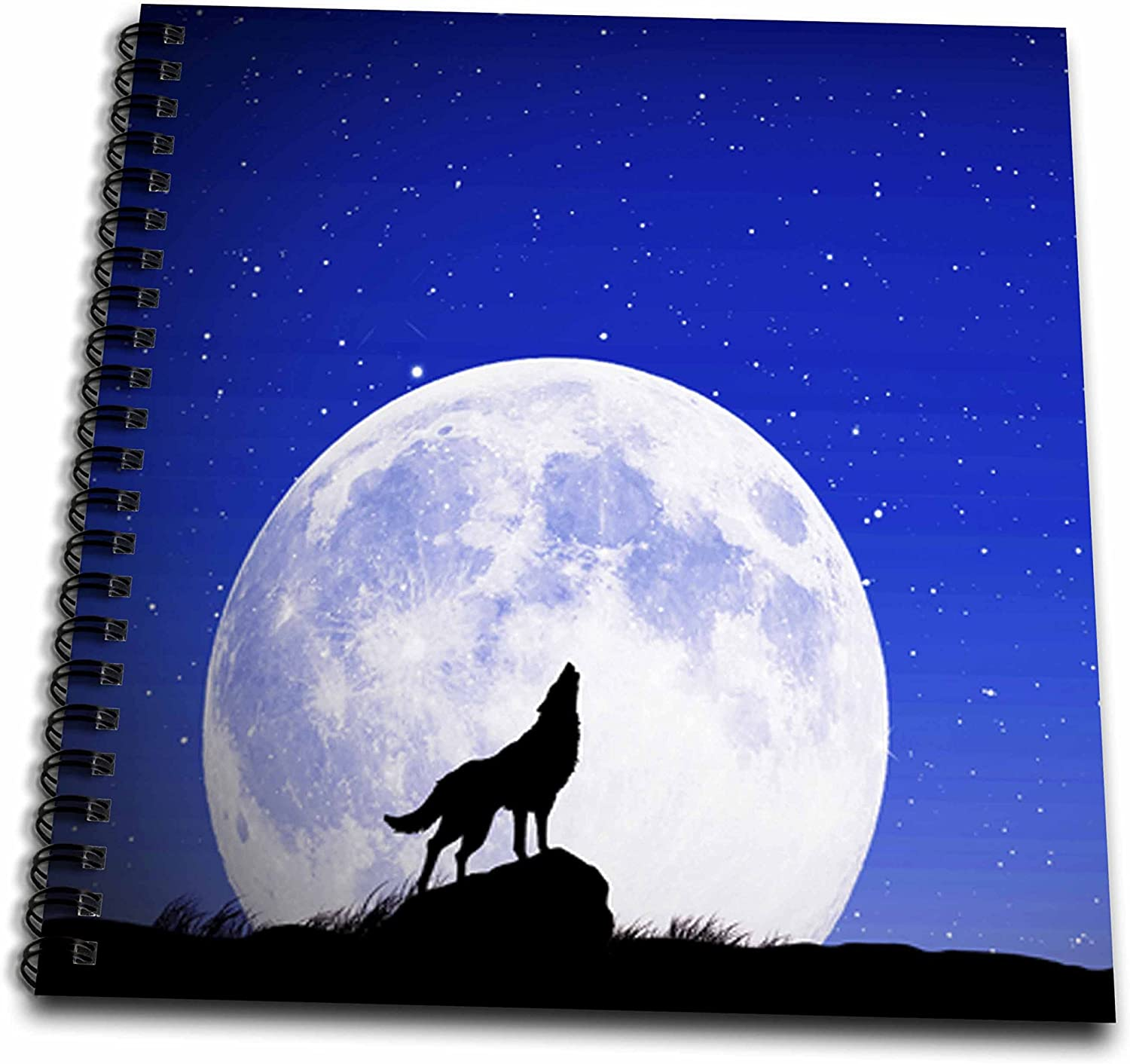 3drose Sven Herkenrath Animal Silhouette Of A Wolf Howling At The Moon Drawing Book 8 X 8 Inch Db 286416 1 Amazon Ca Home Kitchen