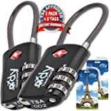 Luggage Locks TSA Approved Travel Lock - 2 Pack - Free Suitcase Tags