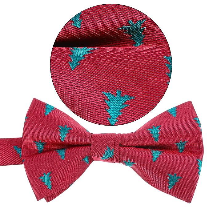 2 Pezzi Cravatte Natalizie da Uomo per Cravatte Costume di Natale Rosso e Nero Perimetro 24-48 cm