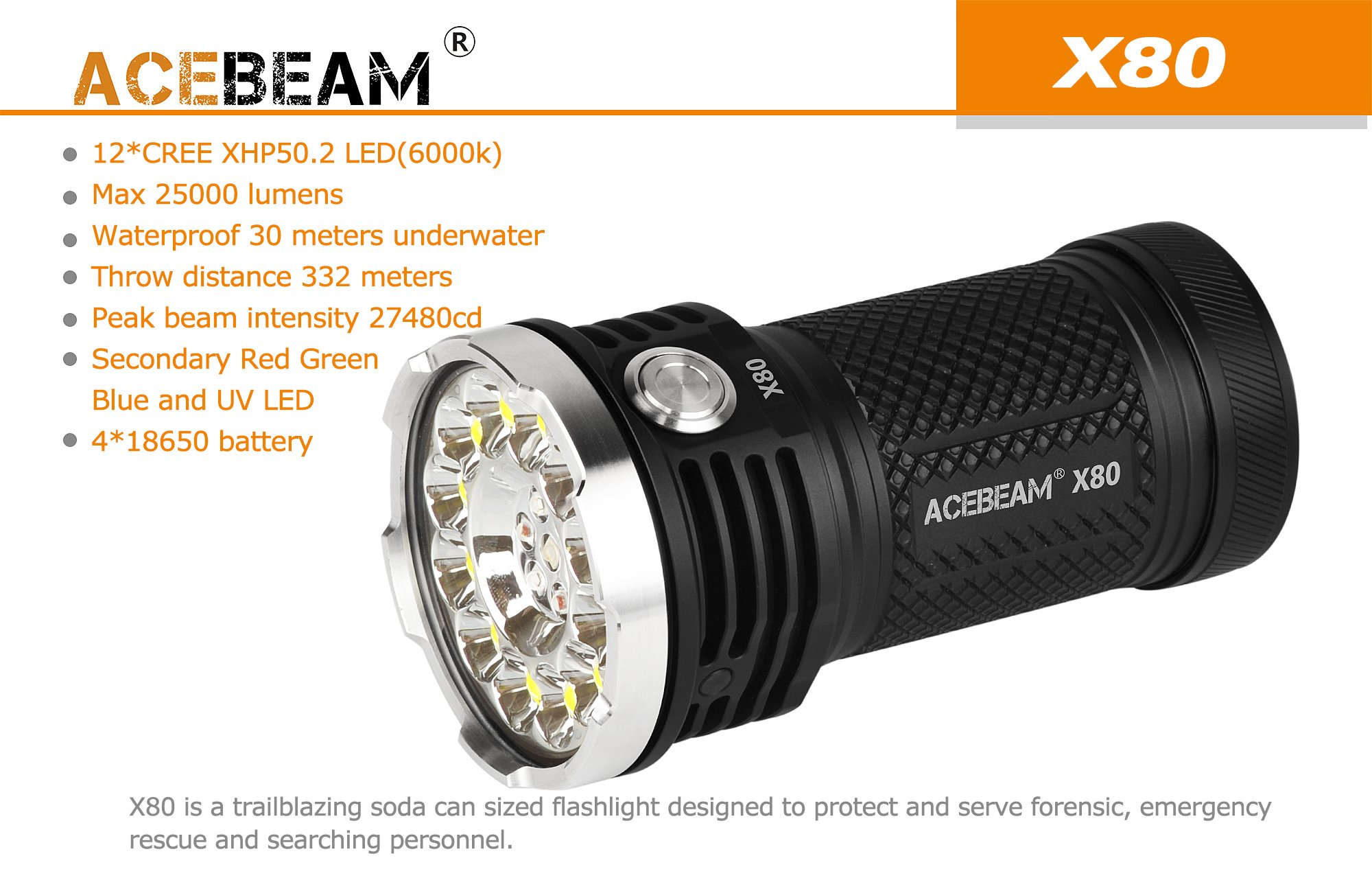 AceBeam X80 Flashlight 25000 Lumens 5-color Light Beam Flashlights Included Batteries by ACEBEAM (Image #4)