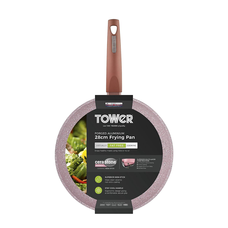 Tower T81242RS Rose Edition - Sartén de aluminio forjado con ...