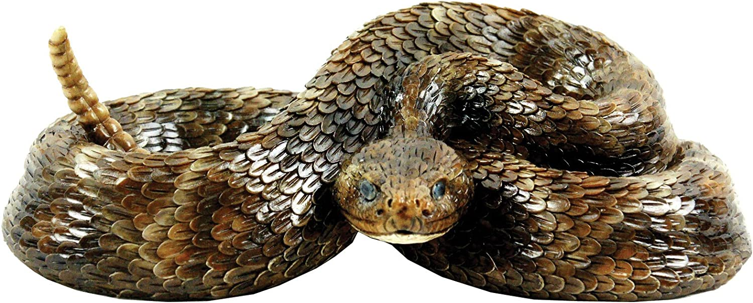 Western Diamondback Rattlesnake S by Michael Carr Designs - Outdoor Snake Figurine for gardens, patios and lawns (80058)