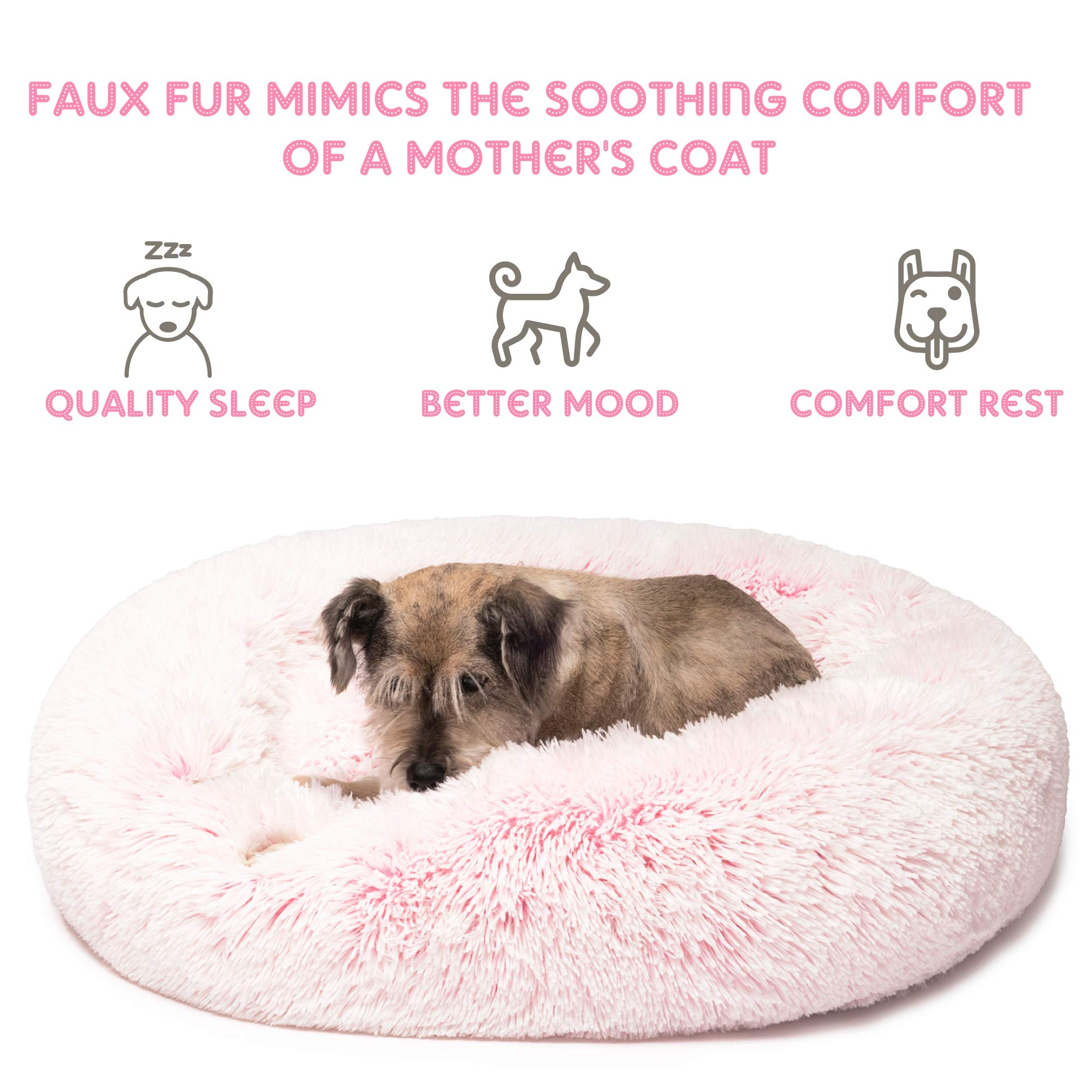 Friends Forever Premium Donut Bolster Orthopedic Dog Bed for Puppy to Medium Dogs & Cat, Medium Pink by Friends Forever (Image #3)