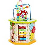 LAVIEVERT 9-in-1 Play Cube Activity Center Multifunctional Bead Maze Toddler Educational Toys Game