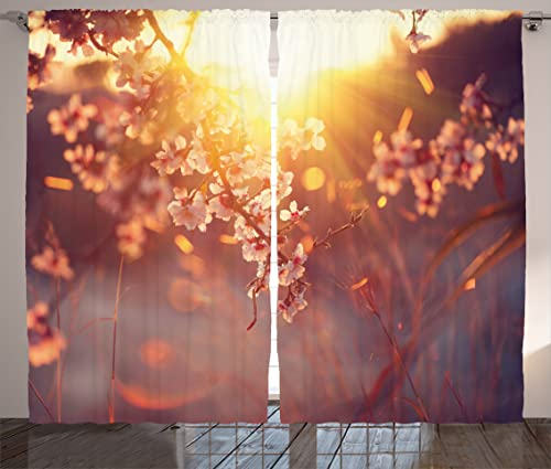 Ambesonne Spring Curtains, Cherry Blossom Tree Branches with Hazy Sun Rays Idyllic Landscape Print, Living Room Bedroom Window Drapes 2 Panel Set, 108 X 84 , Dried Rose Earth Yellow