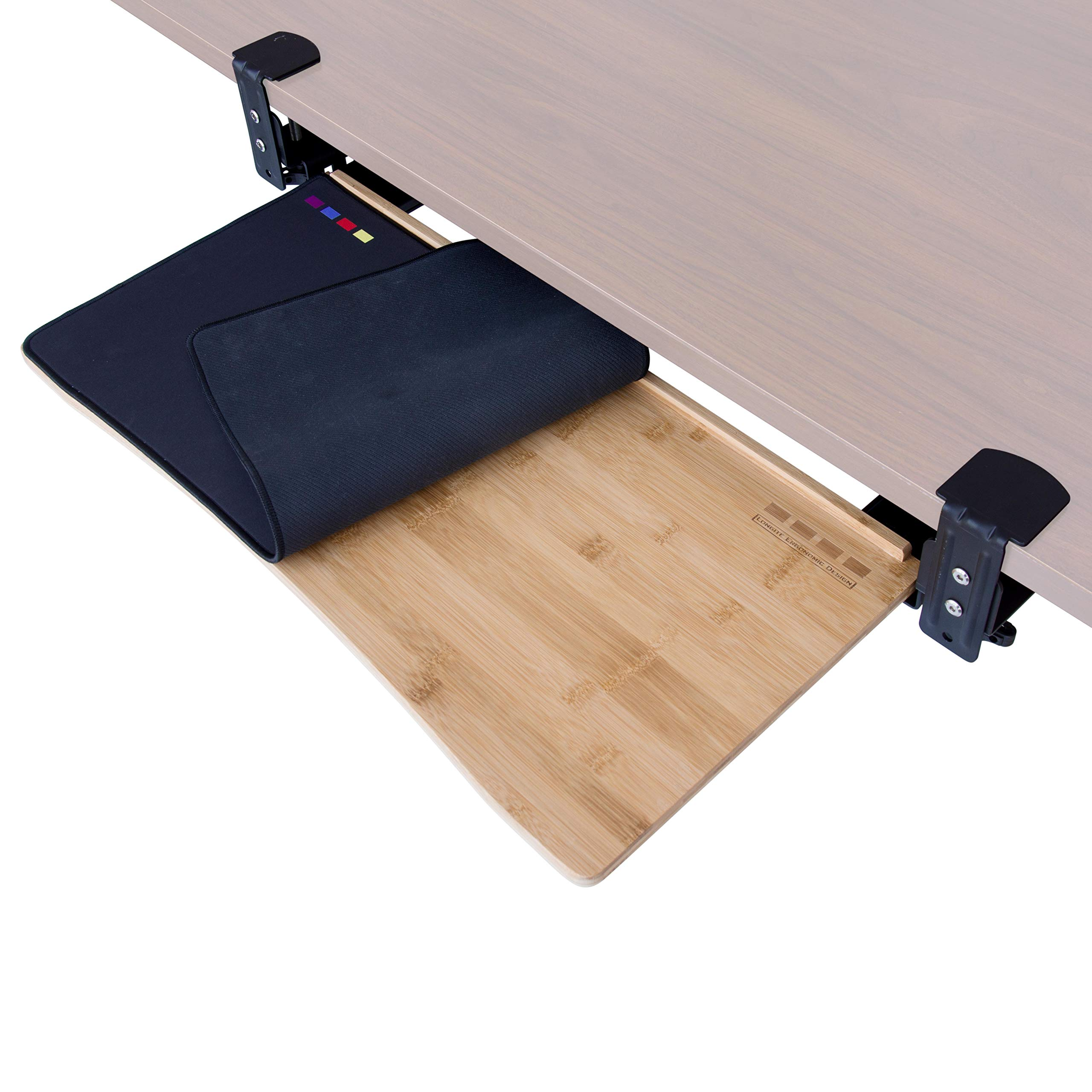 Easy Clamp On Large Keyboard Tray Under Desk (26'', Desk > 32'') - Bamboo Wood Keyboard Drawer with Adjustable Height - No Screws into Desk - Simple Assembly - with Full Size Keyboard and Mouse Pad by D'vine Dev