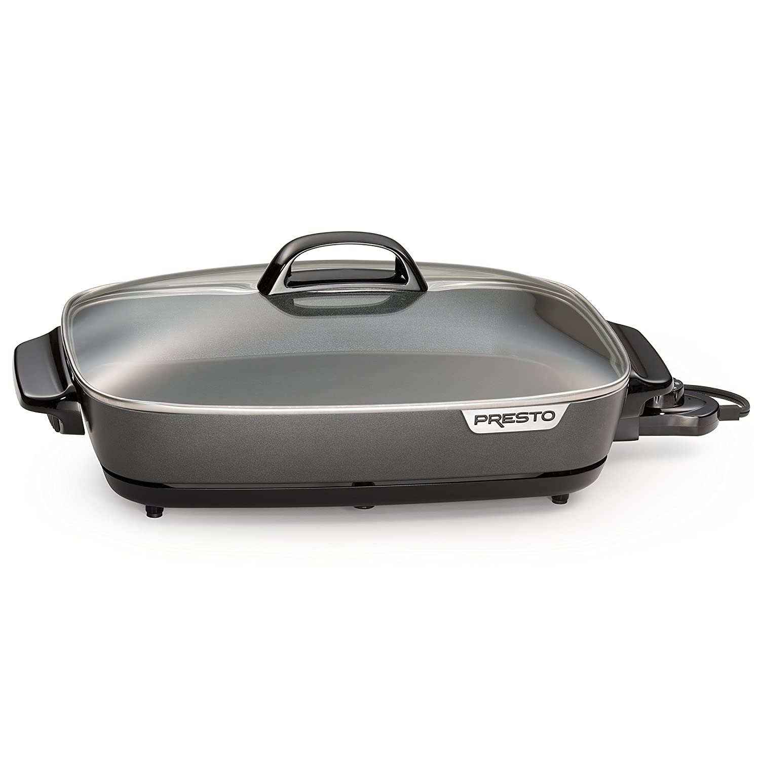 Presto 06858 Slimline Skillet with Glass Cover, Black