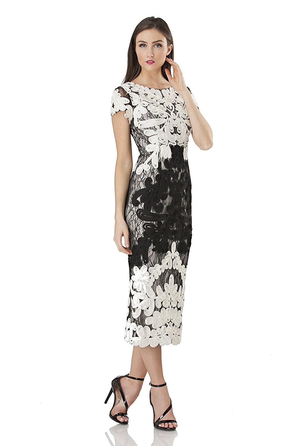 Ivory Black JS Collection Women's Short Sleeve Embroidered Midi