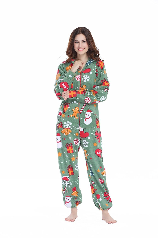 e049cfaafe Amazon.com  XMASCOMING Women s   Men s Hooded Fleece Onesies One-Piece  Pajamas  Clothing