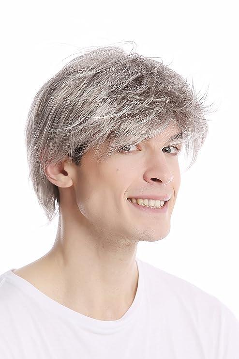 WIG ME UP ® - GFW387-51 Peluca hombre corta dehilachada peinado juvenil color gris