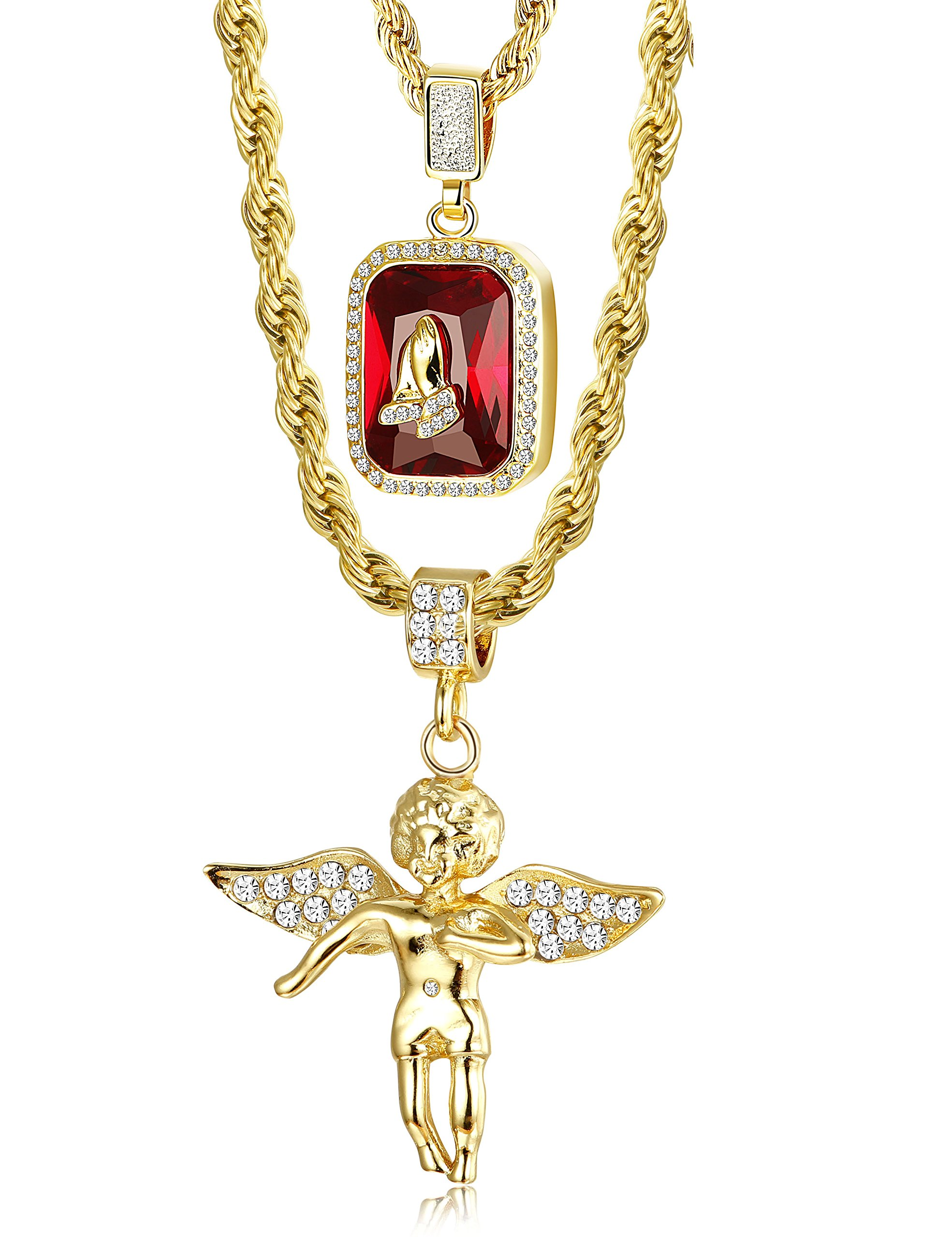 LOLIAS Mens Gold Necklace Hip Hop Rope Chain Necklaces for Men Angel & Ruby Pendant praying Hand Necklace 24 & 30 Inches