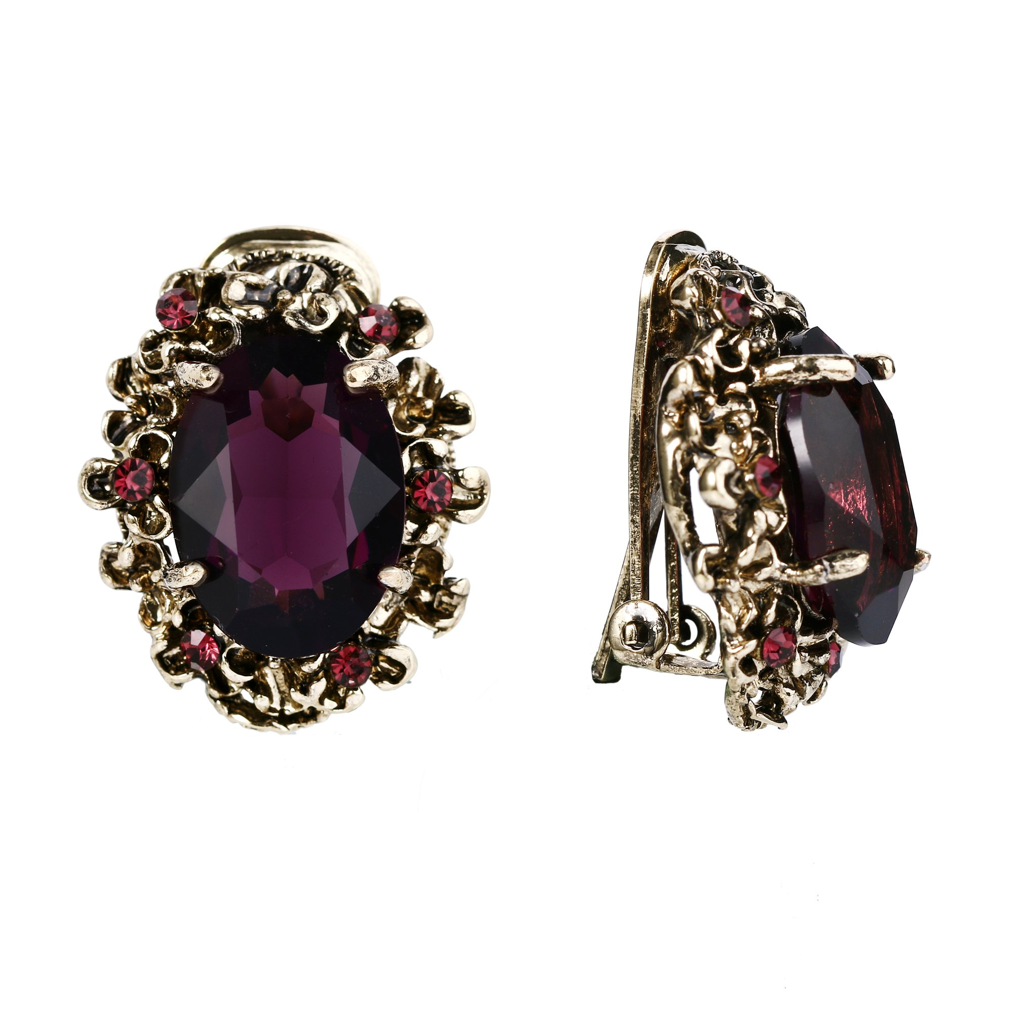 BriLove Antique-Gold-Toned Clip-On Earrings Women's Victorian Style Crystal Floral Cameo Inspired Oval Earrings Amethyst Color