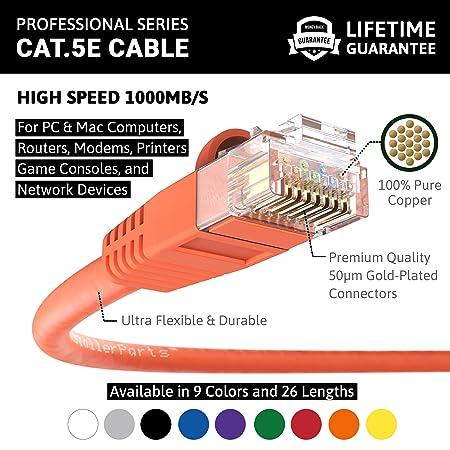 amazon com installerparts cat5e ethernet cable 12 ft orange utp amazon com installerparts cat5e ethernet cable 12 ft orange utp booted professional series 1 gigabit sec network internet cable 350mhz computers
