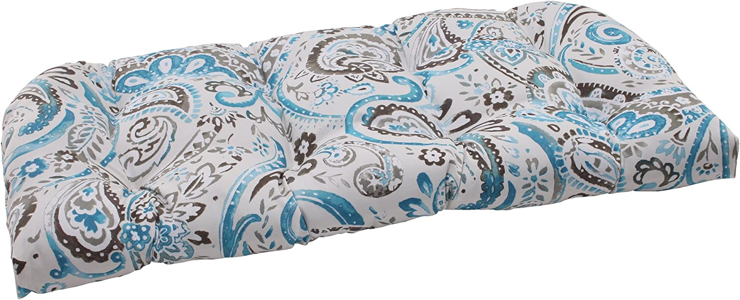 Pillow Perfect Outdoor Paisley Wicker Loveseat Cushion, Tidepool