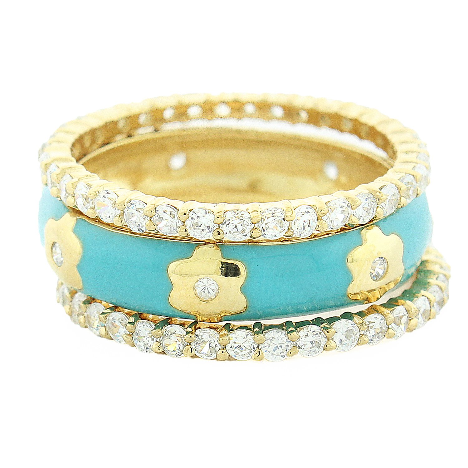 Gold Plated Sterling Silver Turquoise Enamel Center Band and Cubic Zirconia Stacking All-around Stacking Band Rings (8)