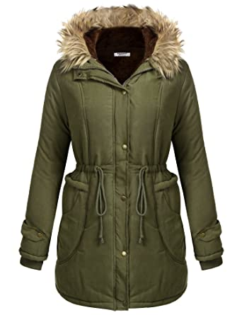 Amazon.com: Flyerstoy Women's Faux Fur Winter Warm Parkas Anoraks ...