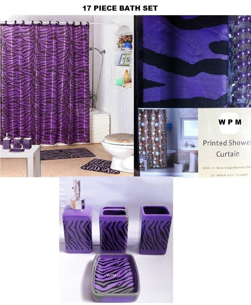 Purple Bathroom Accessories Set Amazoncom 17 Piece Bath Accessory Set Purple Zebra Shower