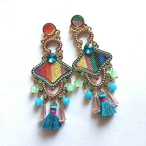 Enhara Jewels - Pendientes largos bordados con cuentas con tela, Pendientes de diamantes de imitación