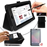 Google Nexus 7 Tablet Case - Black Carbon Fibre Print PropUp Stand Case Cover with integrated stand function and magnetic sleep sensors (Fits all Nexus 7 versions - 8GB, 16GB, 32GB Wi-Fi & HSPA+). With 2 x Screen Guards Included & BONUS: G-HUB ProPen Stylus