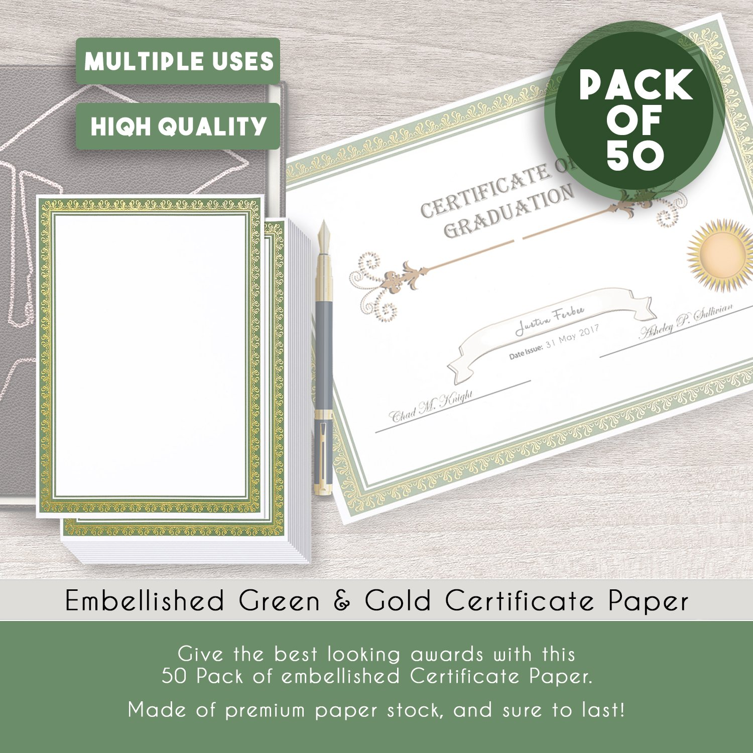Amazon 50 Pack Award Certificate Paper Embellished Green