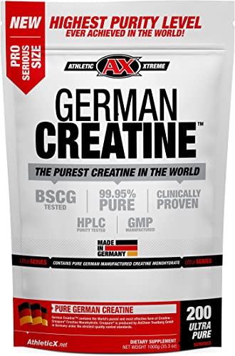 German Creatine 200 Servings 1000g Creapure Pure German Creatine Monohydrate from Creapure Safest and Purest Creatine