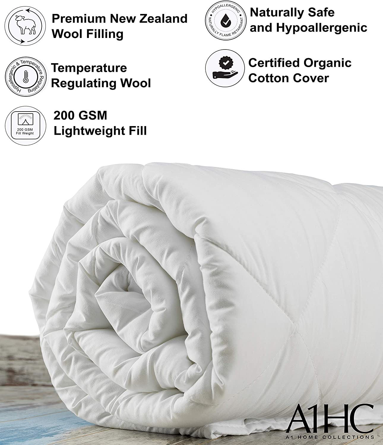 108X92 White KING A1 Home Collections 100/% Pure New Zealand 200 GSM Wool Light Weight Summer Spring Certified Organic Cotton Cover 8 Ties Duvet Insert