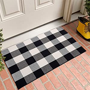 MUBIN Buffalo Plaid Door Mat/Rug Black/White Check Rugs 23.5 x 35.4 Inches Reversible Washable Cotton Hand-Woven Outdoor Rugs for Layered Door Mats Porch/Kitchen/Farmhouse