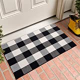 MUBIN Buffalo Plaid Door Mat/Rug Black/White Check Rugs 23.5 x 35.4 Inches Hand-Woven Indoor or Outdoor Rugs for Layered Door