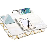 LapGear Designer Lap Desk with Phone Holder and Device Ledge - Gold Quatrefoil - Fits up to 15.6 Inch Laptops - Style No. 45416