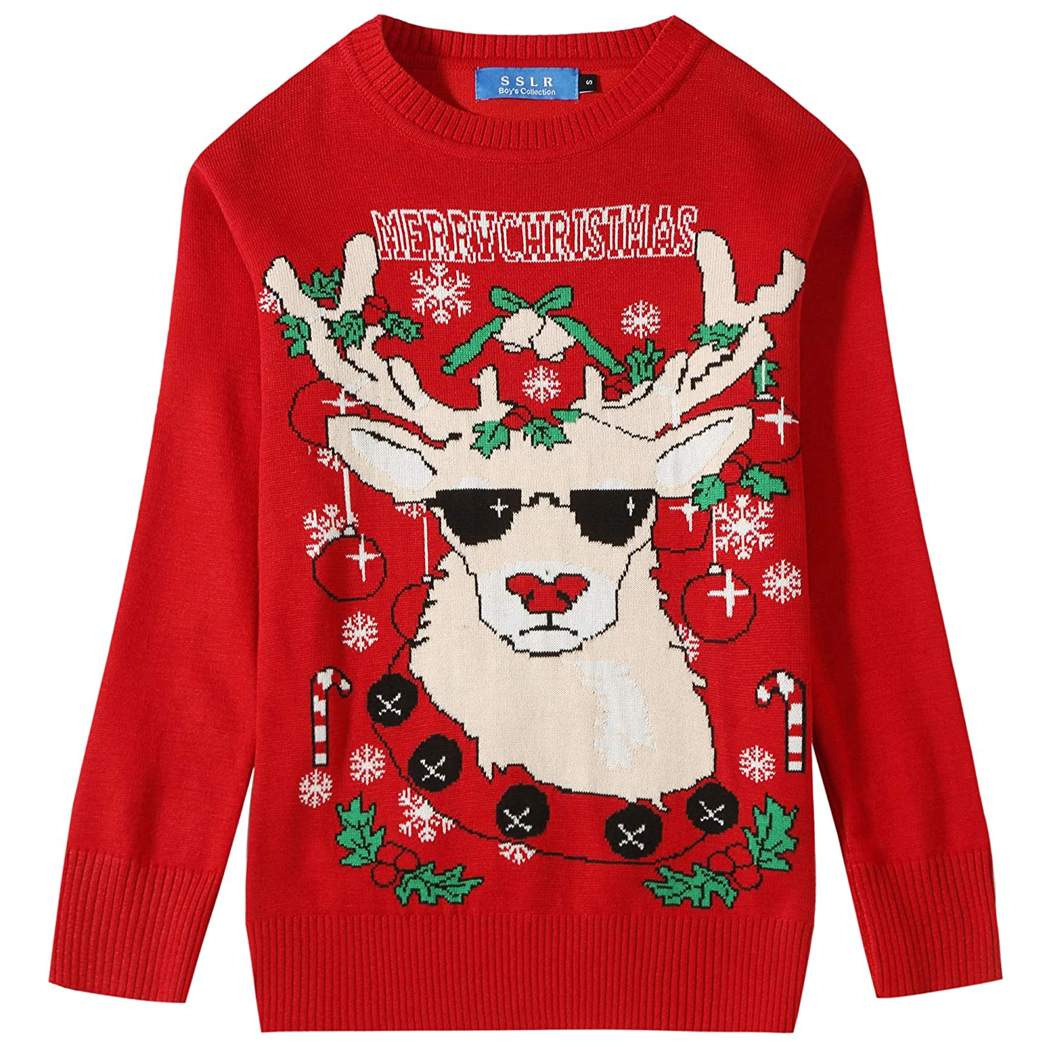 SSLR Big Boys Holiday Reindeer Pullover Crewneck Ugly Christmas Sweater