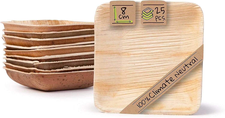 BIOZOYG Set Cuencos Snacks I 25 Piezas orgánicas Desechables Cuadrados 80ml, 8x8cm I Party vajilla compostable, Biodegradable I Hojas Palma vajilla desechable para Fingerfood Dips degustación Buffet