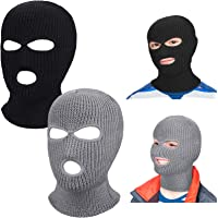 Geyoga 2 Pieces 3-Hole Kids Ski Balaclava Winter Knitted Face Covering Full Face Headwear for Outdoor Sports