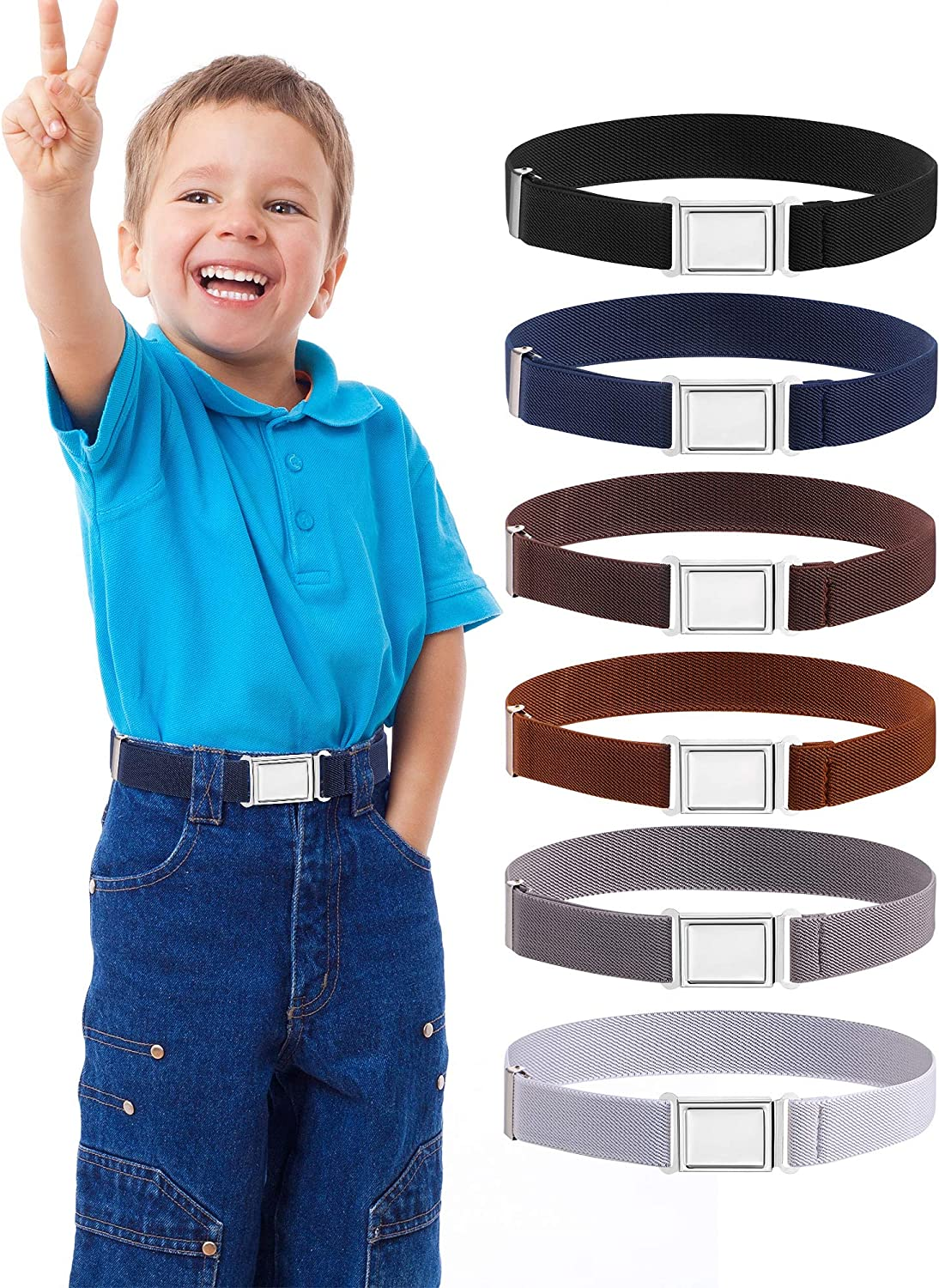 Kids Adjustable Magnetic Belt Elastic Stretch Belt with Easy Magnetic Buckle for Boys Girls, Multicolor, One Size